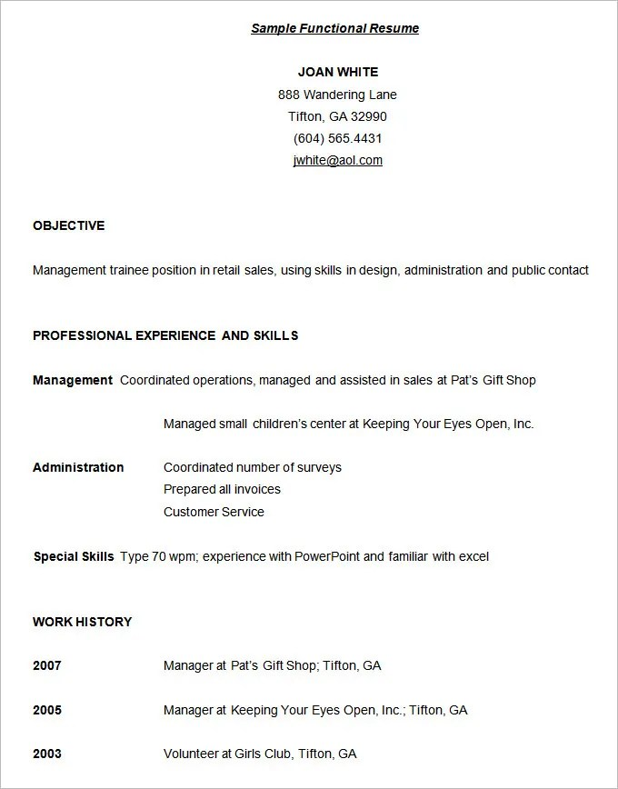 Functional Resume Template \u2013 15+ Free Samples, Examples, Format - resume example format