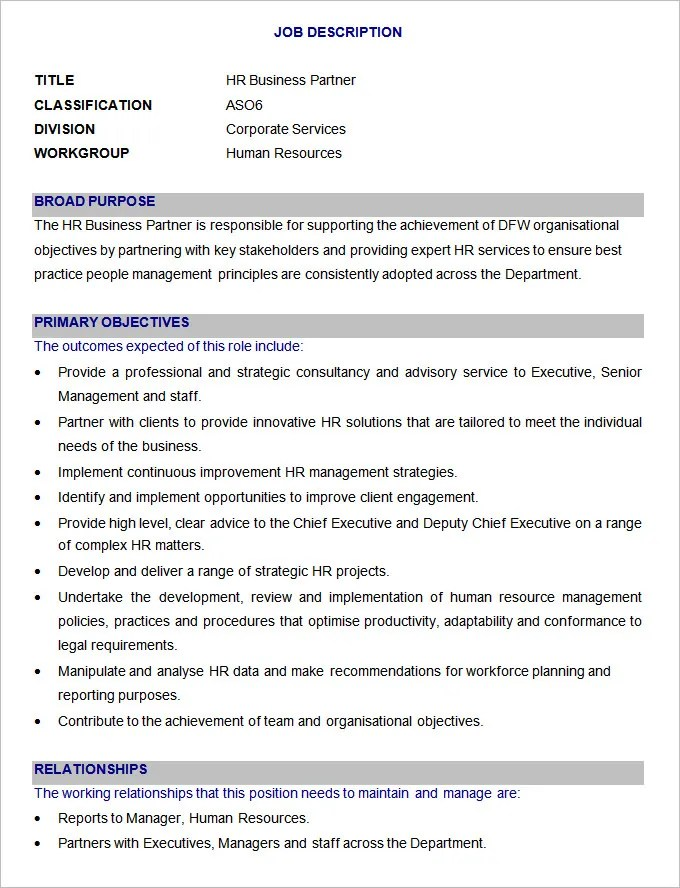45+ HR Job Description Templates HR Templates Free \ Premium - job description templates