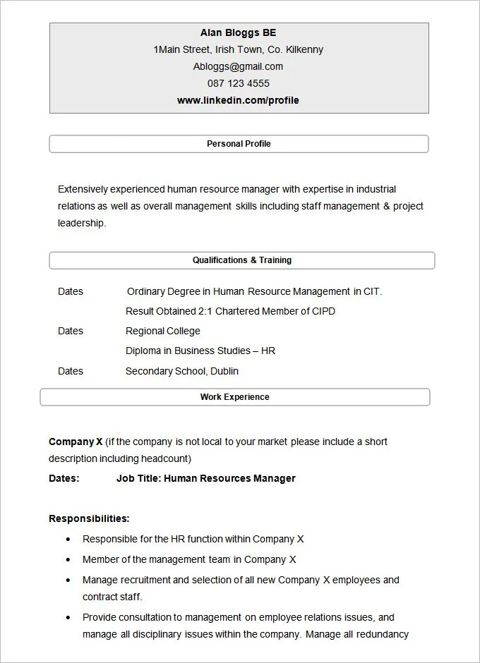 21+ HR Resume Templates - DOC Free  Premium Templates - human resources resume template