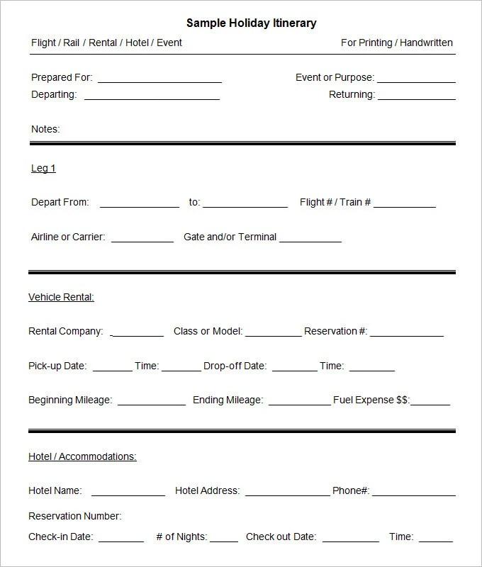 9+ Sample Blank Itinerary Templates - DOC, PDF Free  Premium