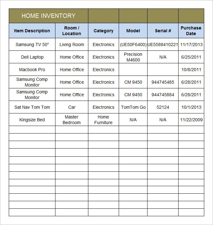 Home Inventory Template - 15 Free Excel, PDF Documents Download