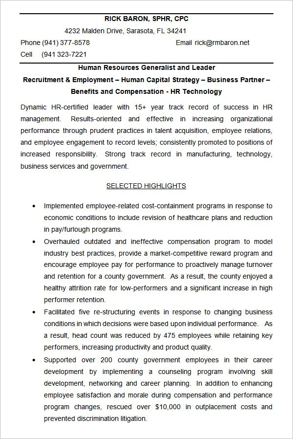Hr Generalist Resume Sample Resume For A Human Resources - results oriented resume