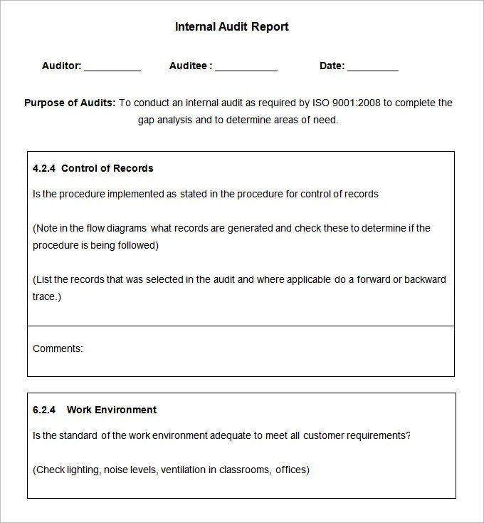 internal audit report format for hospital - Ozilalmanoof
