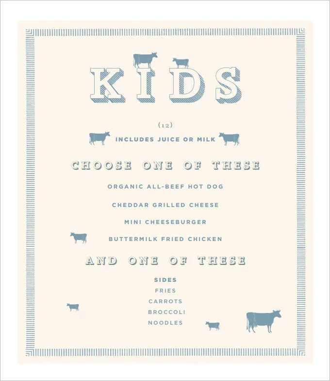 Kids Menu Templates \u2013 26+ Free PSD, EPS Documents Download! Free