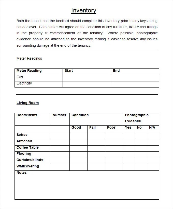 Landlord Inventory Template - 8+ Free Word Documents Download Free - free landlord inventory template