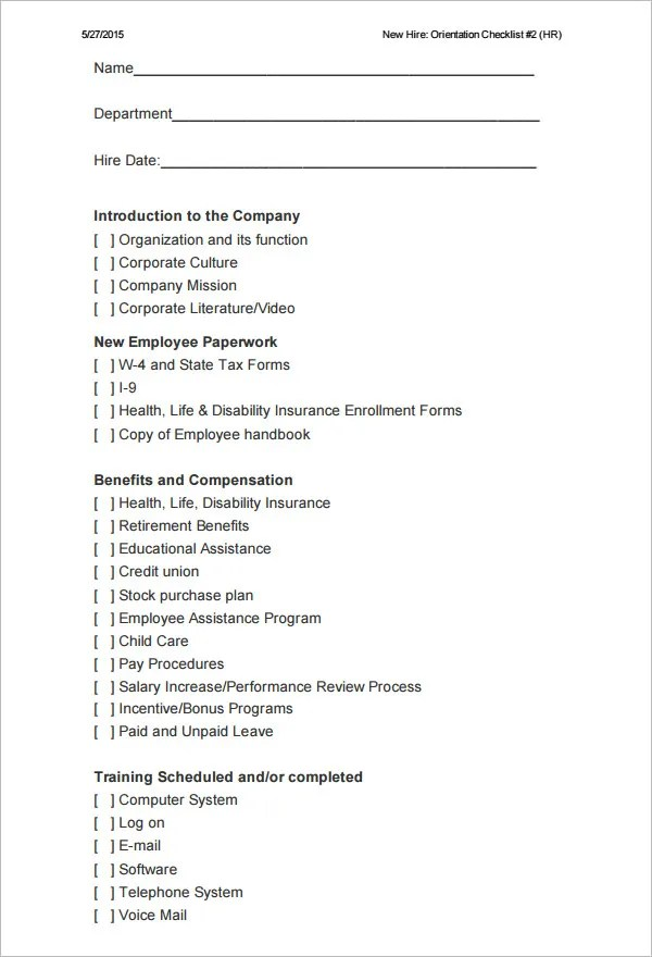 26+ HR Checklist Templates - Free Sample Example Format Free