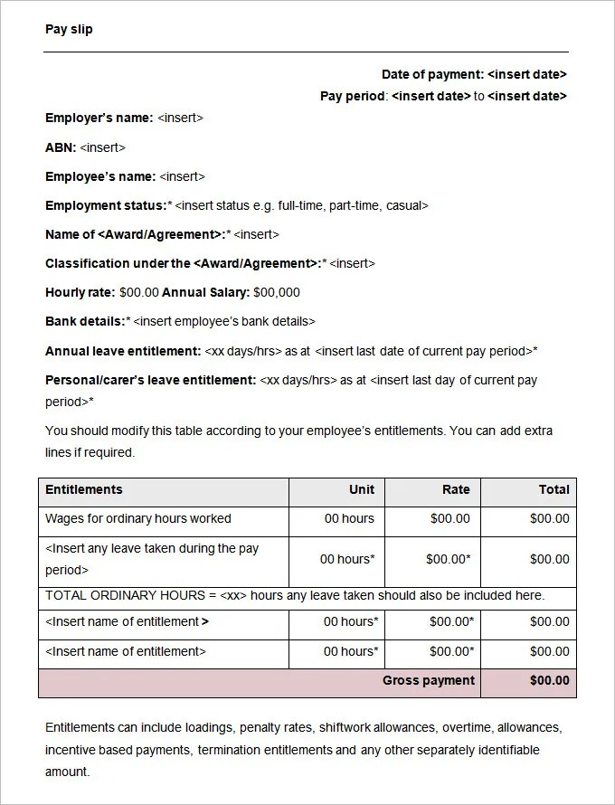 Employee Record Templates -32+ Free Word, PDF Documents Download - payslip template word document