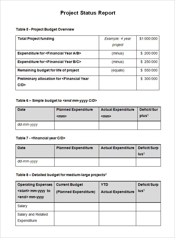 Sample Project Status Report Template - 10 Free Word, PDF Documents