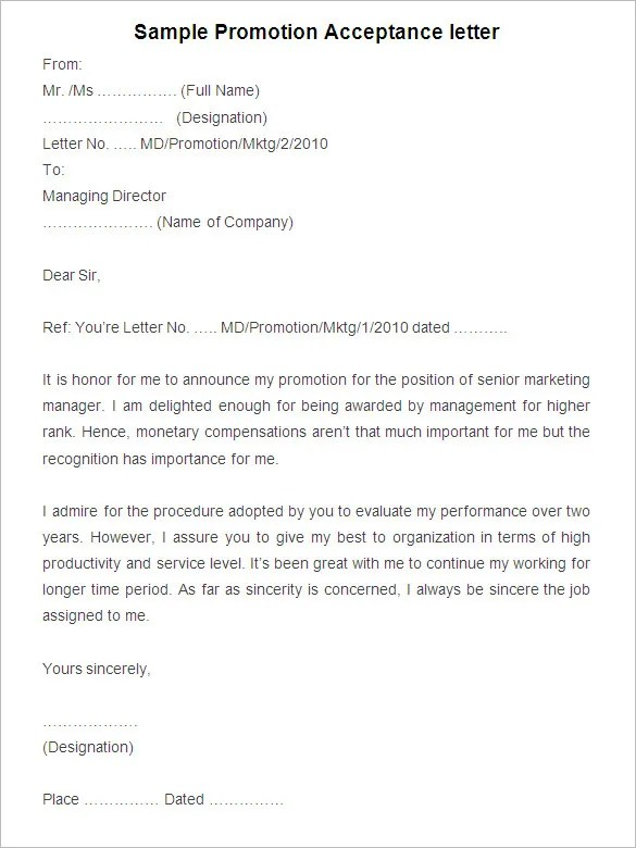 19+ Promotion Letter Templates - PDF, DOC Free  Premium Templates - sample promotion letter