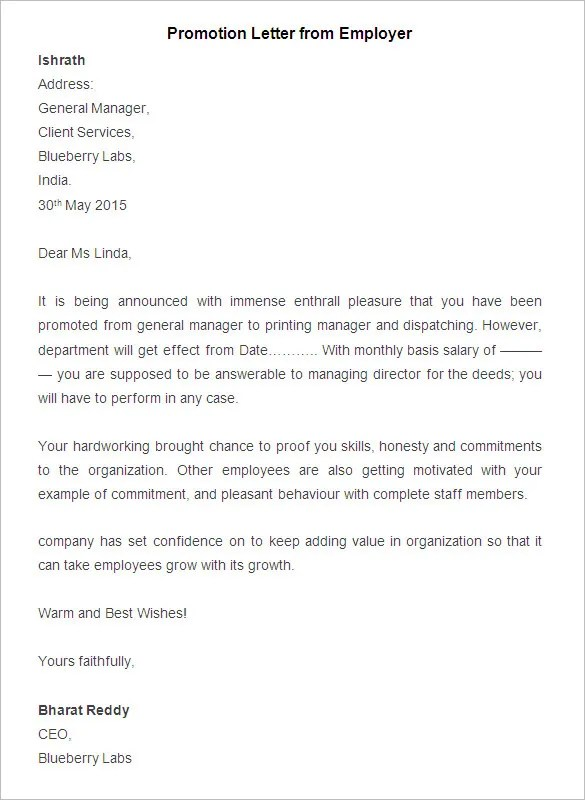 22+ Promotion Letter Templates - Free Samples, Examples Format - how to write salary increment letter