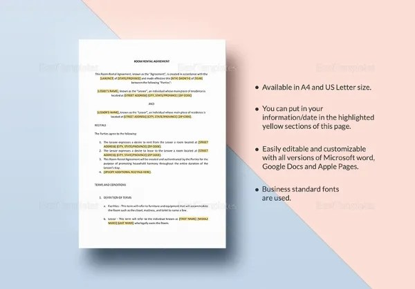 8+ Room Rental Agreement Templates U2013 Free Sample, Example Format    Sample Room For