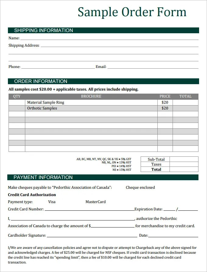 Sales Order Template Example Sales Order Templates 5 Free Samples - order forms templates free