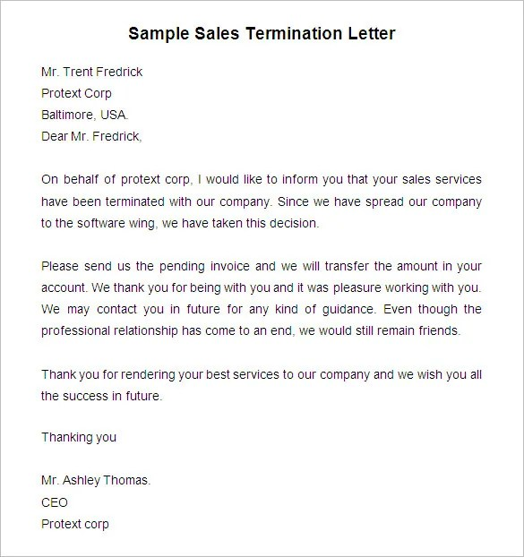Free Termination Letter Template - 33+ Free Sample, Example - lease termination letter example