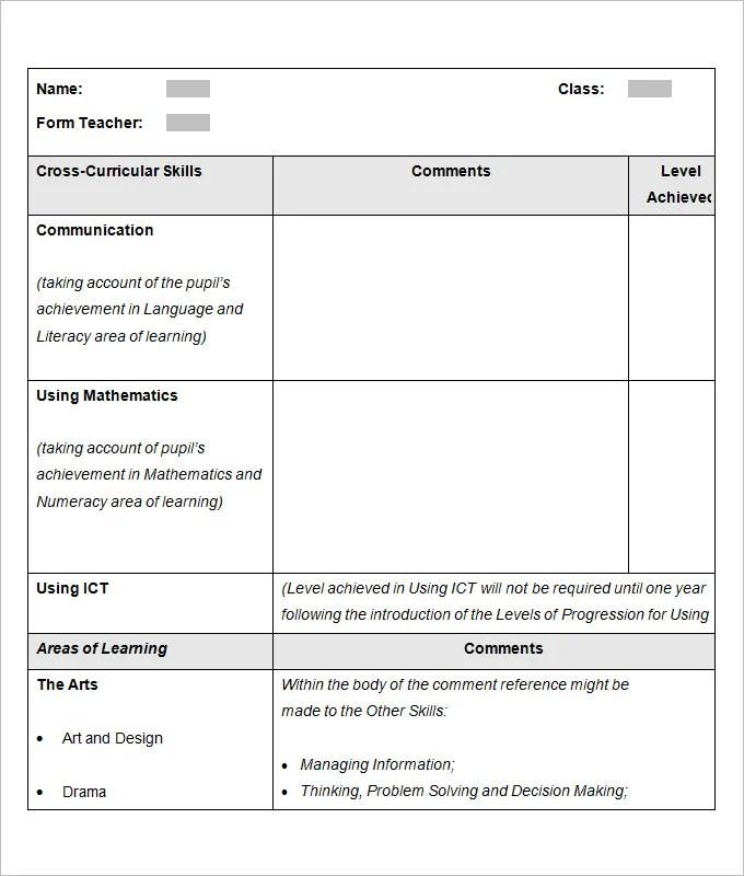 sample school report card template. Black Bedroom Furniture Sets. Home Design Ideas