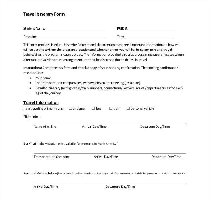 32+ Travel Itinerary Templates - DOC, PDF Free  Premium Templates
