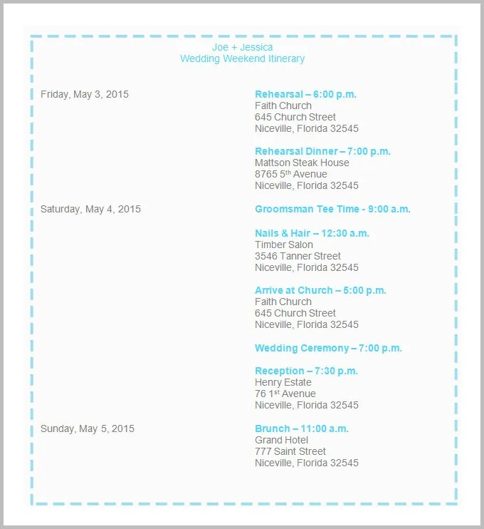44+ Wedding Itinerary Templates - DOC, PDF, PSD Free  Premium - wedding event timeline template