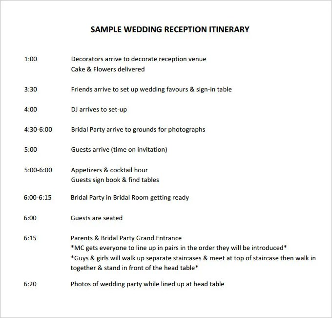 Wedding Itinerary Template  NodeCvresumePaasproviderCom