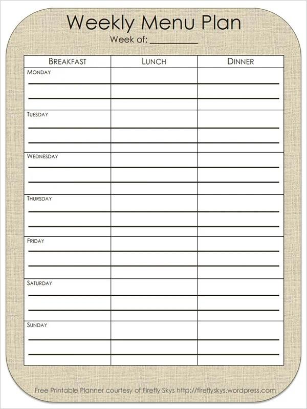 24+ Menu Planner Template - DOC, PSD, PDF, EPS, InDesign Free