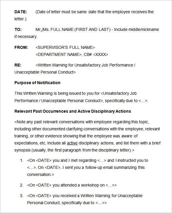 discipline letter template