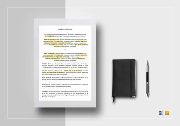 Consignment Contract Template - 7+ Free Word, PDF Documents Download - consignment form template