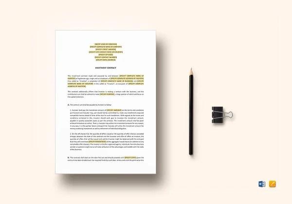 11+ Investment Contract Templates - PDF, DOC Free  Premium Templates