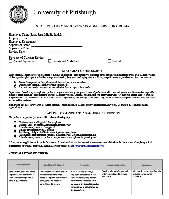 standard performance review form - Goalgoodwinmetals - monthly appraisal form