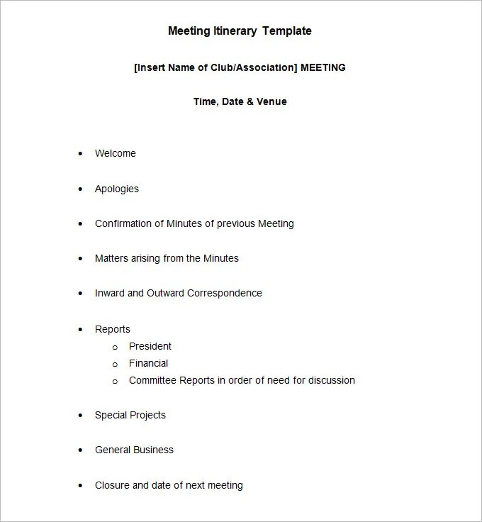 10+ Meeting Itinerary Template - Word, PDF Free  Premium Templates