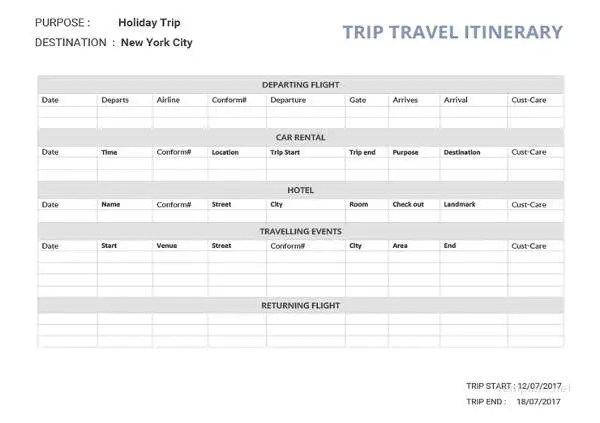 free printable vacation itinerary - Towerssconstruction