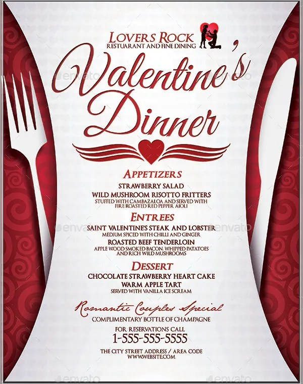 Dinner Menu Templates \u2013 36+ Free Word, PDF, PSD, EPS, InDesign - valentines day menu template