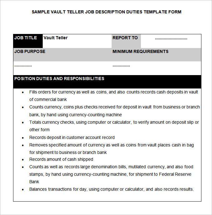 Bank Teller Job Description Pitchbillybullock - bank teller duties
