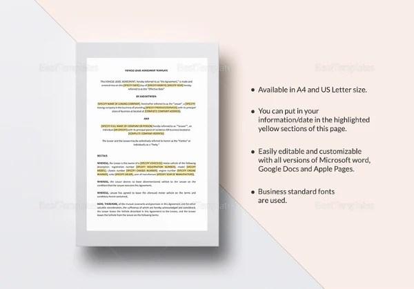 Vehicle Lease Agreement Template - Vehicle Ideas - sample vehicle lease agreement
