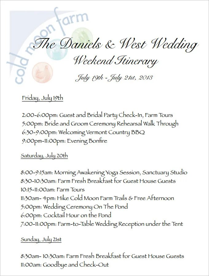 4+ Sample Wedding Weekend Itinerary Templates - DOC, PDF Free