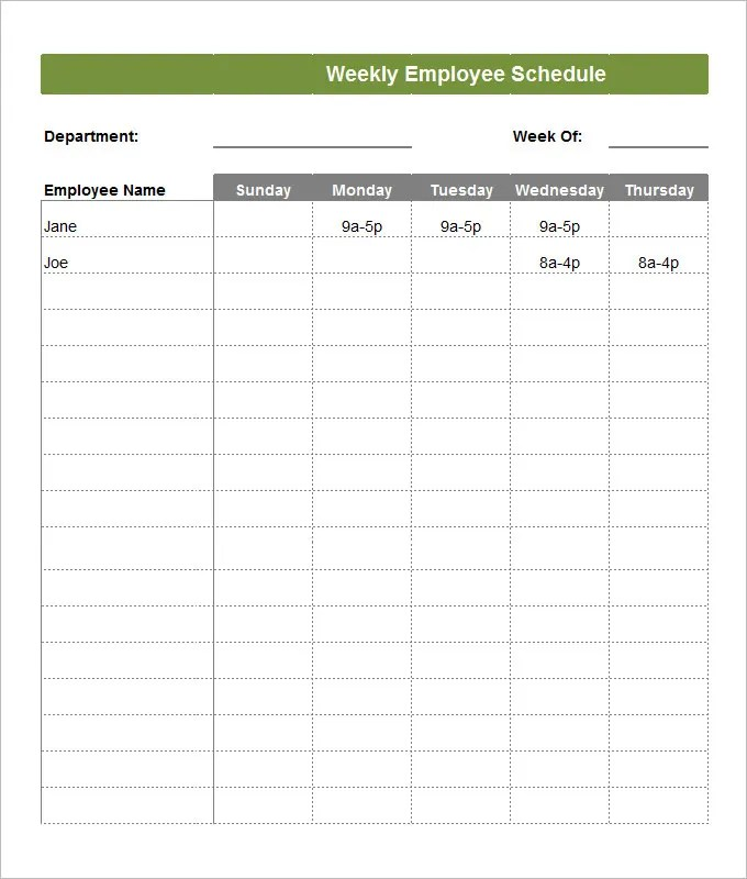 Employee Schedule Template - 5 Free Word, Excel, PDF Documents - monday to sunday schedule template