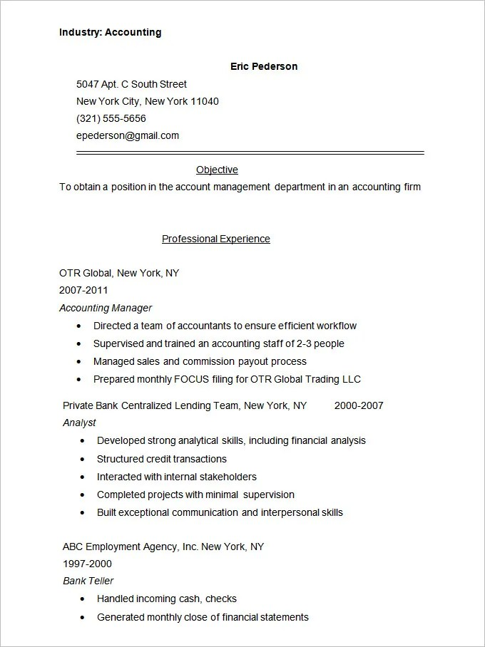 Accounting Resume Templates - 20+ Free Samples, Examples, Format - Resume For Accountant Sample
