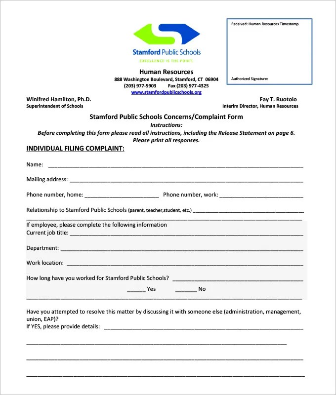 Employee Form Employee Complaint Form Template Hr Complaint Forms