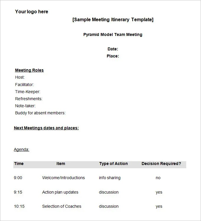 Meeting Itinerary Template - 4 Free Word Documents Download Free