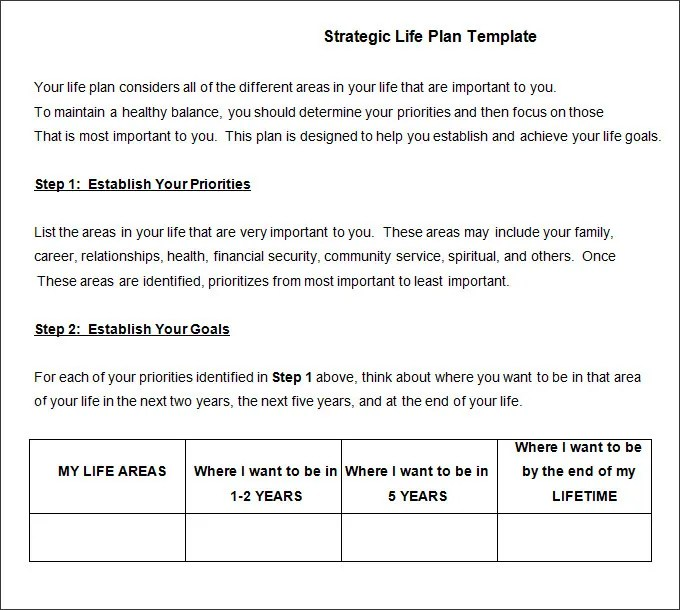 Life Plan Template - 4+ Free Word, PDF Documents Download Free - life plan template