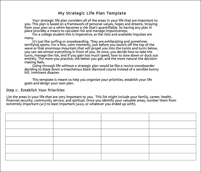 Life Plan Template - 4+ Free Word, PDF Documents Download Free