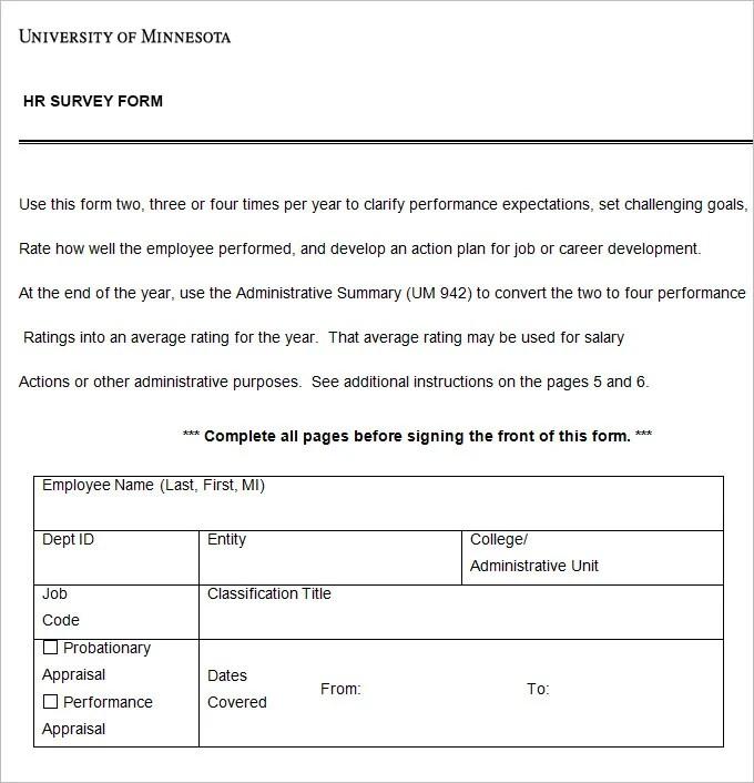 6+ HR Survey Forms HR Templates Free  Premium Templates Free - survey form