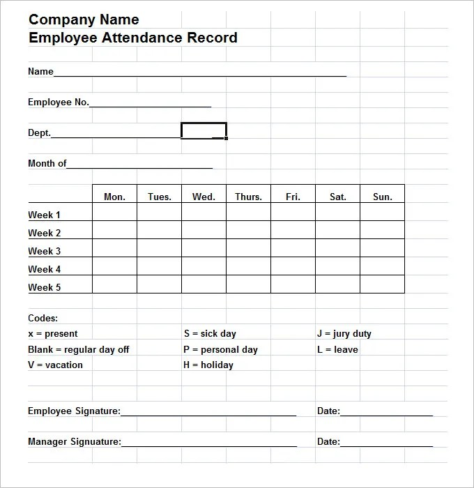 6+ Time and Attendance Forms HR Templates Free  Premium