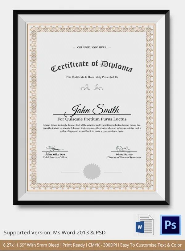 Diploma Certificate Template - 26+ Free Word, PDF, PSD, EPS - certificate sample in word