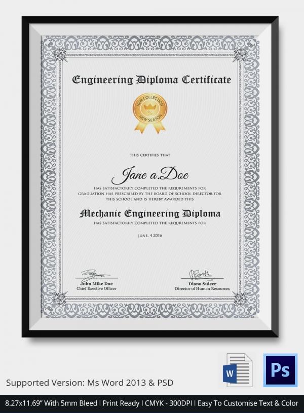 certificate formats free