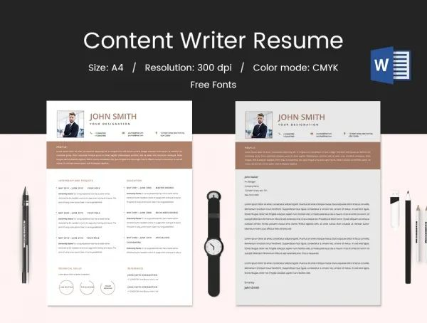 sample resume for content writer fresher