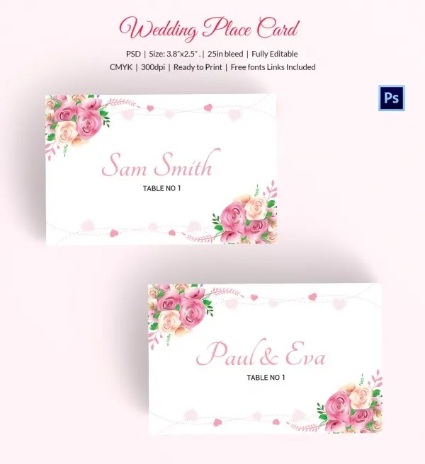 25+ Wedding Place Card Templates Free  Premium Templates - free wedding place card template