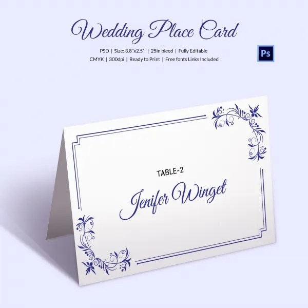 25+ Wedding Place Card Templates Free  Premium Templates - wedding place cards template free