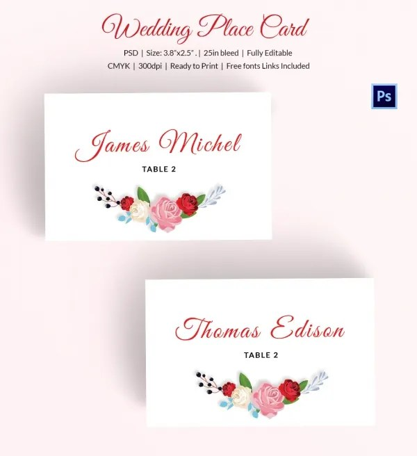 25+ Wedding Place Card Templates Free  Premium Templates