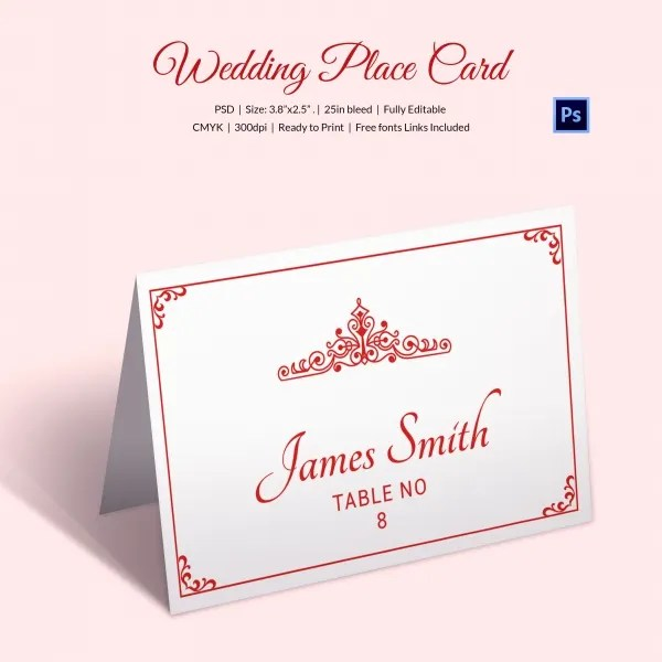 25+ Wedding Place Card Templates Free  Premium Templates - folded place card templates