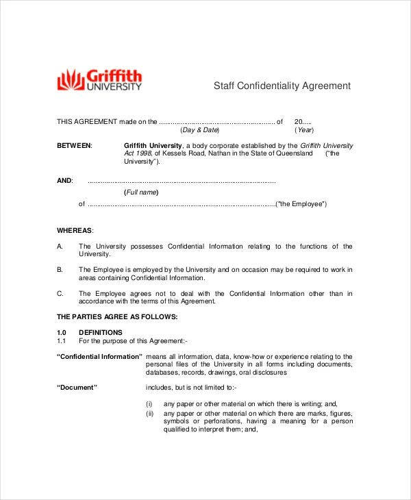 Confidentiality Agreement Human Resources Employees  Resume Maker