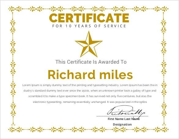 service award template