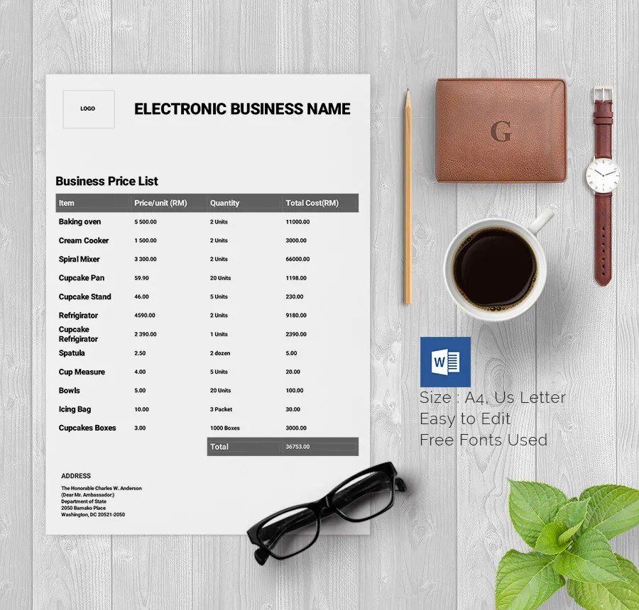 Price List Template - 25+ Free Word, Excel, PDF, PSD Format Download